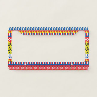 Signal Flags pattern_I Love To Sail Licence Plate Frame