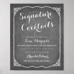 Signature Cocktails Menu | Wedding Decor Poster