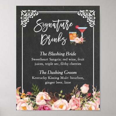 Wedding Signature Drinks.Wedding Signature Drink Menu Flowers Rustic Wood Poster