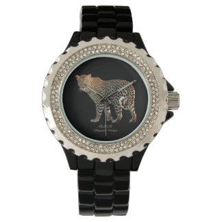 Signature Leopard Custom Rhinestone Black Watch