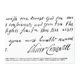 Signature Oliver Cromwell,from handwritten Canvas Print