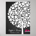signature wedding guest book tree bird pink poster