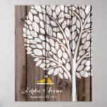 signature wedding guest book tree bird yellow wood