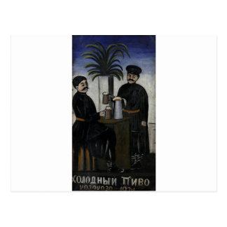 Signboard 'Cold, cold beer' by Niko Pirosmani Postcard