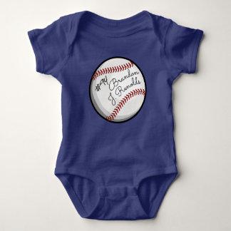 Signed Baseball Customized Name Baby Bodysuit