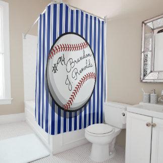 Signed Baseball Customized Name Shower Curtain