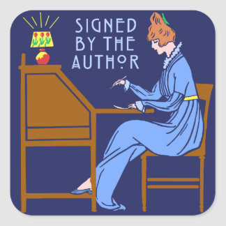 Signed By the Author Book Signing Lady in Blue Square Sticker