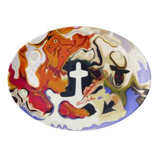"""""""Signed"""" Paxton """"Good & Evil"""" Porcelain Platter Porcelain Serving Platter"""