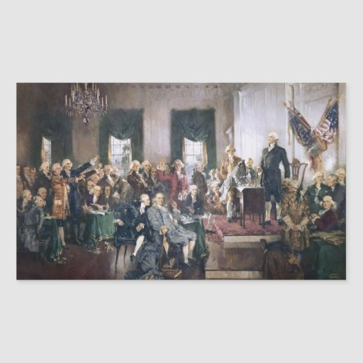 Signing the US Constitution by Christy Rectangular Stickers