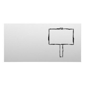 Signpost Notice Image. Black on gray. Custom Photo Card