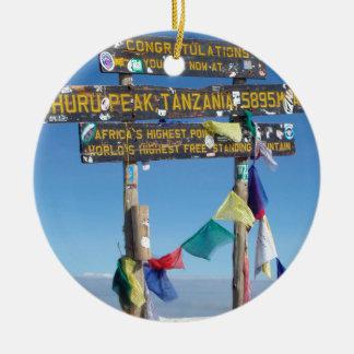 Signpost  on the  Summit of Kilimanjaro kenya Ceramic Ornament