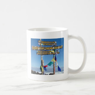 Signpost  on the  Summit of Kilimanjaro kenya Coffee Mug
