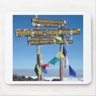 Signpost  on the  Summit of Kilimanjaro kenya Mouse Pad