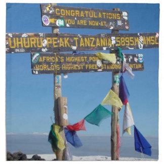 Signpost  on the  Summit of Kilimanjaro kenya Napkin