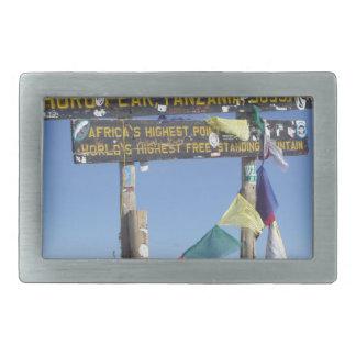Signpost  on the  Summit of Kilimanjaro kenya Rectangular Belt Buckle