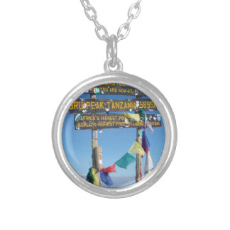 Signpost  on the  Summit of Kilimanjaro kenya Silver Plated Necklace