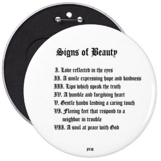 Signs of Beauty 6 Cm Round Badge
