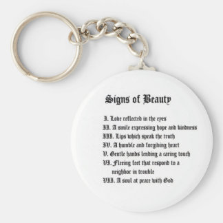 Signs of Beauty Basic Round Button Key Ring