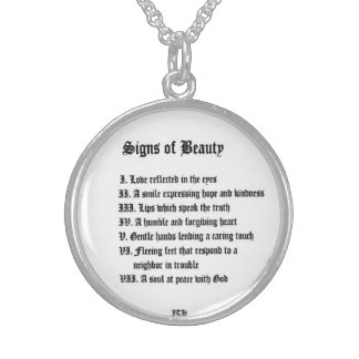 Signs of Beauty Round Pendant Necklace