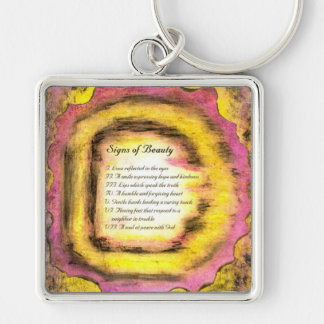 Signs of Beauty Silver-Colored Square Key Ring