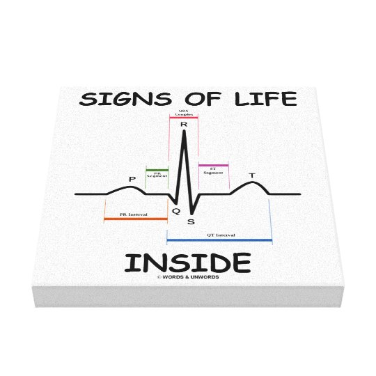 Signs Of Life Inside EMT Medical Heartbeat Humour Canvas Print