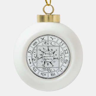 Signs of the Zodiac and Planets Ceramic Ball Christmas Ornament