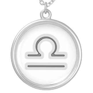 Signs of the Zodiac, Libra Round Pendant Necklace