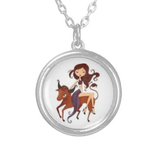 Signs of the Zodiac, Taurus Round Pendant Necklace