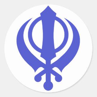Sikh Khanda Blue Classic Round Sticker