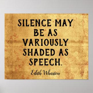Silence  -- Art Print _ Edith Wharton Quote