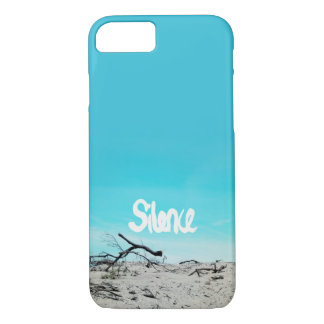 Silence beach winter quote blue iPhone 7 case