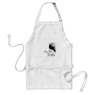Silence is Golden - Black Bird Adult Apron