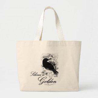 Silence is Golden - Black Bird Bag