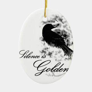 Silence is Golden - Black Bird Ceramic Ornament