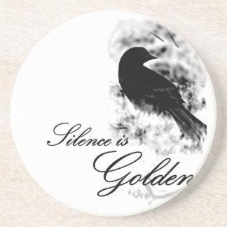 Silence is Golden - Black Bird Beverage Coasters