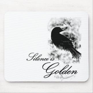Silence is Golden - Black Bird Mousepads