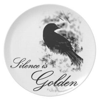 Silence is Golden - Black Bird Party Plates