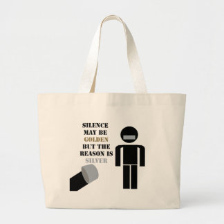 Silence is Golden Duct Tape Humor Tote Bags
