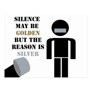 Silence is Golden Duct Tape Humor Postcard