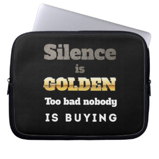Silence is Golden Laptop Computer Sleeves
