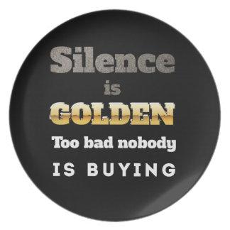 Silence is Golden Dinner Plates