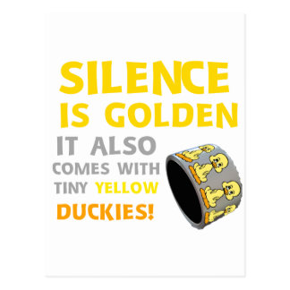 Silence Is Golden Rubber Ducky Duct Tape Humor Postcard