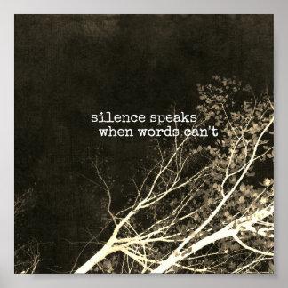silence speaks motivational quote poster art