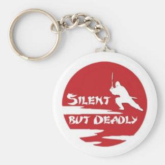 silent basic round button key ring