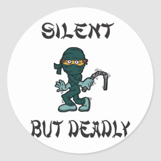 silent but deadly Ninja Fart Round Sticker
