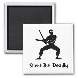 Silent Deadly Ninja Square Magnet