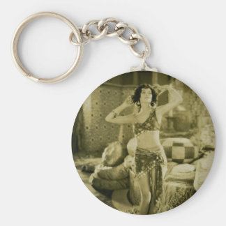 Silent Film Era Beauty Sterevoview Card Basic Round Button Key Ring