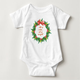 Silent Holy Night Calm Bright Christmas Carol Desi Baby Bodysuit