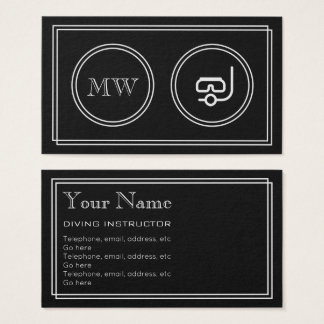 """""""Silent Movie"""" Diving Instructor Business Cards"""