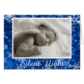 Silent Night Blue Holiday Christmas Card